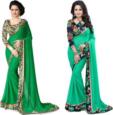 Indianbeauty Self Design Fashion Chiffon Saree(Pack of 2, Green) at flipkart