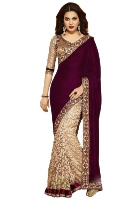 PareeDil Embriodered Bollywood Velvet, Brasso Sari