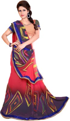 KL COLLECTION Floral Print Fashion Synthetic Georgette Sari