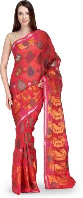 Shad Banarsi Woven Banarasi Banarasi Silk Sari(Red)