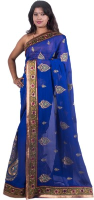 The Banarasi Creations Self Design Banarasi Chiffon Sari
