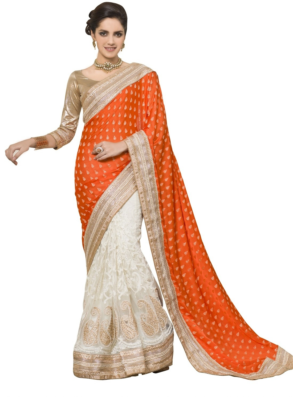 Chirag Sarees Printed Fashion Jacquard Saree(Orange)