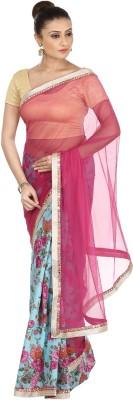 Kajal New Collection Floral Print Bollywood Raw Silk, Net Sari