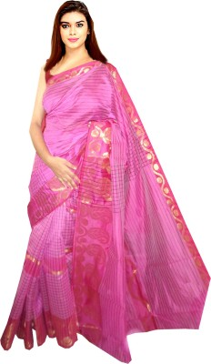 Tyra Sarees Solid, Checkered Tant Handloom Cotton Sari