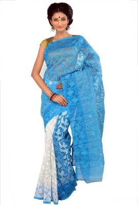 RKB Woven Jamdani Handloom Silk Cotton Blend Sari