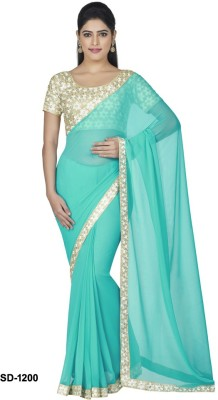 Silons Designer Embriodered Fashion Synthetic Georgette Sari