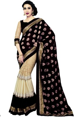 WomenVilla Self Design Bollywood Georgette Sari