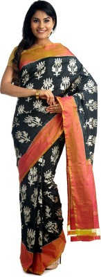 BlackBeauty Woven Pochampally Handloom Pure Silk Saree(Black, Orange) at flipkart