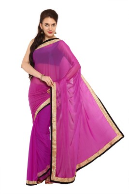 Satrang Solid Daily Wear Net Saree(Purple) at flipkart