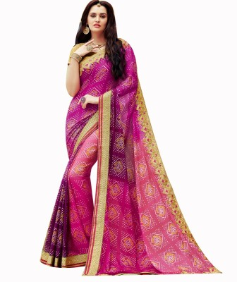 Shop Avenue Printed Bandhani Georgette Sari
