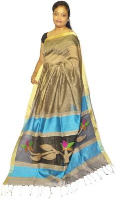 Fashion Gallery Striped Tangail Silk Cotton Blend Sari