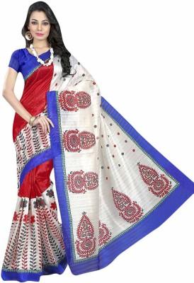 NSMedia Printed Bhagalpuri Silk Cotton Blend Sari