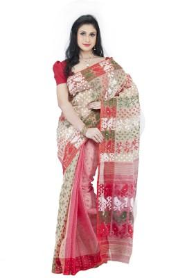 Guava Embriodered Jamdani Handloom Kota Cotton Sari