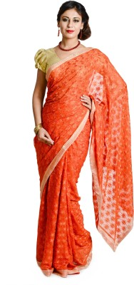 Ethnic Bliss Lifestyles Self Design Phulkari Chiffon Sari