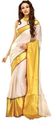AJS Striped, Plain Fashion Cotton Sari
