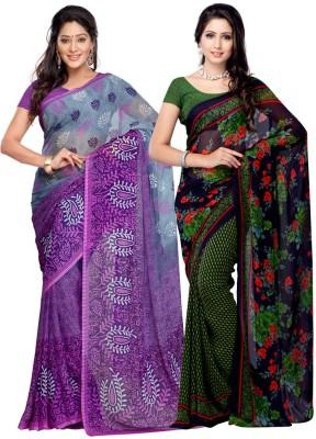 Fabdeal Printed Daily Wear Georgette, Chiffon Sari