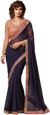M.S.Retail Embroidered Bollywood Georgette Saree(Dark Blue) at flipkart