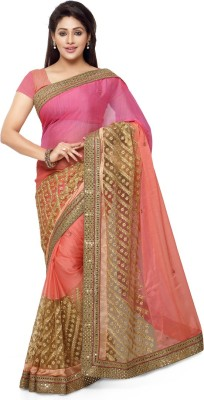 Saara Embroidered Fashion Chiffon, Net Saree(Pink) at flipkart