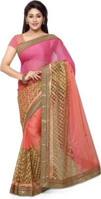 Saara Embroidered Fashion Chiffon, Net Saree(Pink) at flipkart