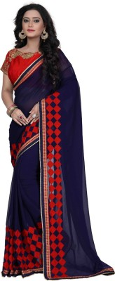 Hian Embroidered Fashion Georgette Saree(Blue) at flipkart