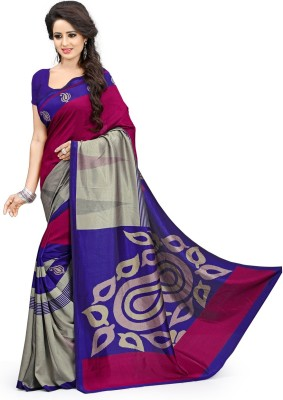 DESIGN WILLA Printed Mysore Synthetic Crepe Saree(Multicolor) at flipkart