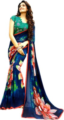 Ganghs Digital Prints, Printed, Floral Print Fashion Georgette Sari