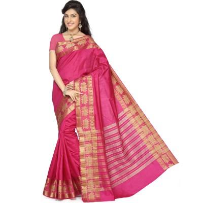 Rani Saahiba Woven Fashion Tussar Silk Sari(Magenta)