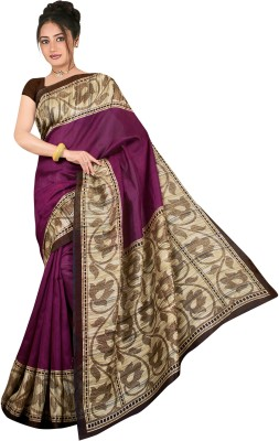 Mann Solid Bhagalpuri Printed Silk Sari