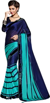 Dharmee Creations Striped Fashion Georgette Sari