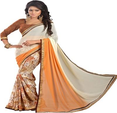 Newlook impex Self Design, Printed, Plain, Floral Print Fashion Georgette Sari