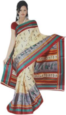 BPS Printed Bhagalpuri Handloom Printed Silk, Art Silk, Khadi, Silk Cotton Blend Sari