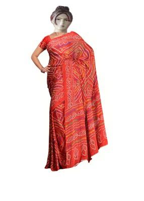 RAJASTHANI BANDEJ Printed Bandhani Synthetic Crepe Sari
