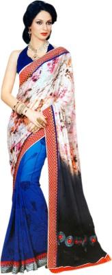 Sanjana Floral Print, Embriodered Bollywood Poly Silk, Georgette Sari