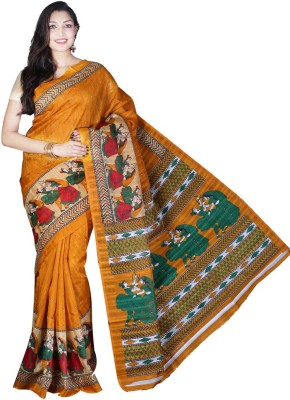 Glamorous Lady Printed Bhagalpuri Silk Cotton Blend Sari
