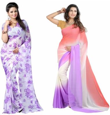 Aaditri Plain, Floral Print Daily Wear Chiffon Sari