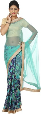 Kajal New Collection Floral Print Fashion Net, Raw Silk Sari