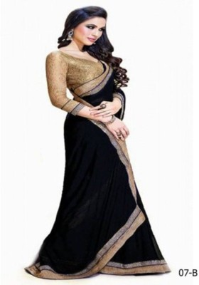 Kmozi Plain Fashion Chiffon Sari