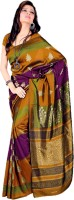 DESIGN WILLA Printed Fashion Synthetic Crepe Sari(Gold)