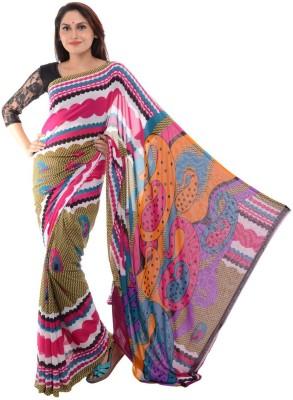 Samadhi Sarees Floral Print Daily Wear Synthetic Chiffon Sari