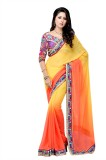 Suvastram Solid Fashion Chiffon Saree (Y...