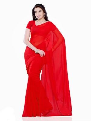 simple sobar Plain Daily Wear Chiffon Sari