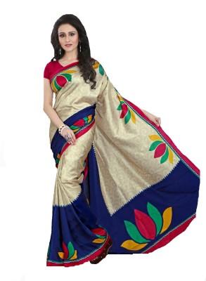 AJS Floral Print, Graphic Print Fashion Art Silk Saree(Multicolor) at flipkart