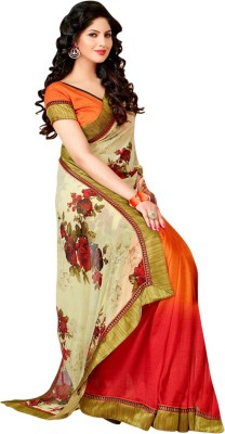 Saara Printed Daily Wear Georgette Saree(Multicolor) at flipkart