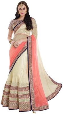 Vidya Fashion Embroidered Bollywood Net Saree(Orange) at flipkart