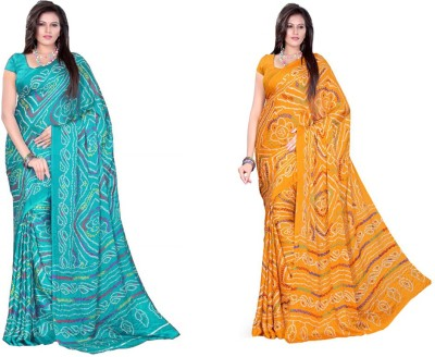 Chhota Govind Printed Bandhej Crepe Sari