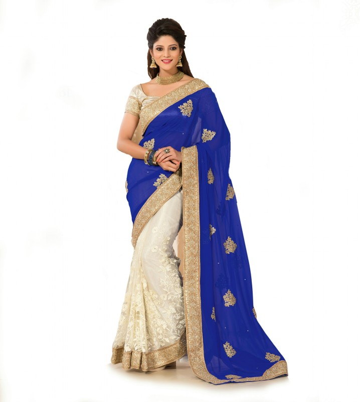 Aarti Apparels Embroidered Bollywood Georgette Saree(Blue, White)