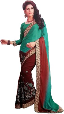 RoopSangamz Embellished, Embriodered Bollywood Georgette Sari