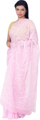 Knool Self Design Lucknow Chikankari Georgette Sari