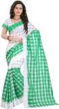 Aracruz Checkered Fashion Silk Saree (Wh...