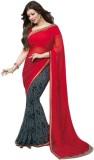 SHS Printed Fashion Georgette Saree (Red...